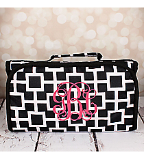 Black and White Connecting Squares Roll Up Cosmetic Bag #CB-1334-1