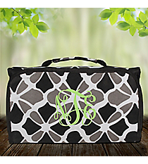 Petals in Black Roll Up Cosmetic Bag #CB-1348-BK