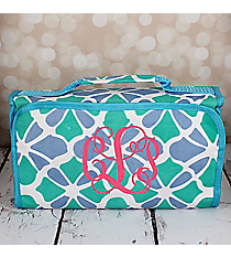 Petals in Blue Roll Up Cosmetic Bag #CB-1348-BL