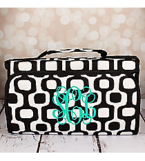 Black Mod Squares Roll Up Cosmetic Bag #CB-1350-BK