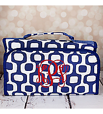 Blue Mod Squares Roll Up Cosmetic Bag #CB-1350-BL