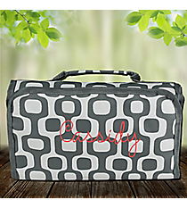 Gray Mod Squares Roll Up Cosmetic Bag #CB-1350-GRAY