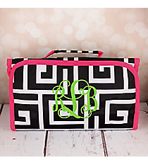 Black and White Greek Key with Pink Trim Roll Up Cosmetic Bag #CB-704-BK-PK