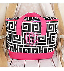 Black and White Greek Key with Pink Trim Cooler Tote with Lid #LCB-704-BK-PK