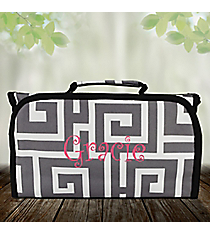 Gray and White Greek Key Roll Up Cosmetic Bag #CB-704-GRAY