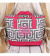 Gray and White Greek Key with Pink Trim Cooler Tote with Lid #LCB-704-GR-PK