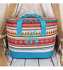 Pink Aztec with Blue Trim Cooler Tote with Lid #LCB-705-BL