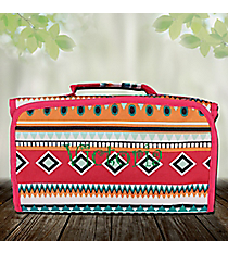 Pink Aztec Roll Up Cosmetic Bag #CB-705