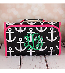 Black and White Anchor with Pink Trim Roll Up Cosmetic Bag #CB-706-BK-PK