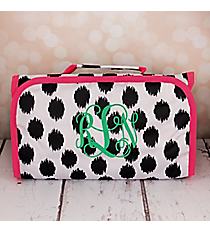 Black Brushed Dots with Pink Trim Roll Up Cosmetic Bag #CB-707-BK-PK