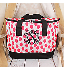 Pink Brushed Dots with Black Trim Cooler Tote with Lid #LCB-707-PK-BK