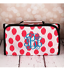 Pink Brushed Dots with Black Trim Roll Up Cosmetic Bag #CB-707-PK-BK