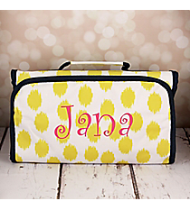 Yellow Brushed Dots with Navy Blue Trim Roll Up Cosmetic Bag #CB-707-Y-BL