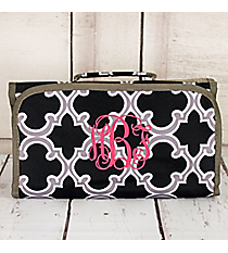 Black and Gray Moroccan Roll Up Cosmetic Bag #CB-708-BK