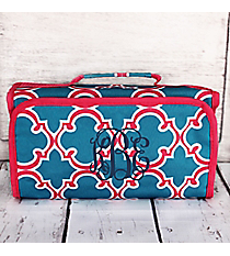 Blue and Pink Moroccan Roll Up Cosmetic Bag #CB-708-BL