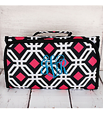 Black and Pink Diamond Daze Roll Up Cosmetic Bag #CB-709-BK