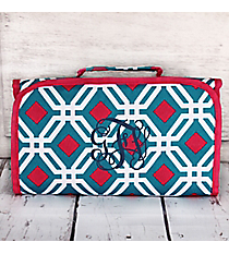 Blue and Pink Diamond Daze Roll Up Cosmetic Bag #CB-709-BL