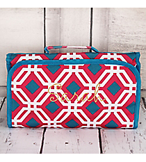 Pink and Blue Diamond Daze Roll Up Cosmetic Bag #CB-709-P