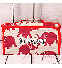 Crimson Elephants with Red Trim Roll Up Cosmetic Bag #CB-97