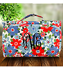 Blue and Pink Flowers Laminated Roll Up Cosmetic Bag #CB0-3004