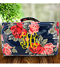 Blue Rose Laminated Roll Up Cosmetic Bag #CB0-3005