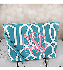 Light Blue Trellis Cosmetic Pouch #CB10-1349-BL