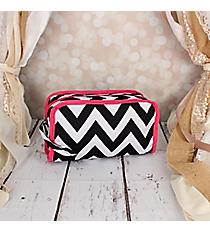 Black Chevron Travel Bag with Pink Trim #CB12-1324-P