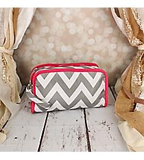 Gray Chevron Travel Bag with Pink Trim #CB12-1325-P