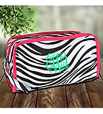 Zebra Travel Bag with Pink Trim #CB12-2006-P