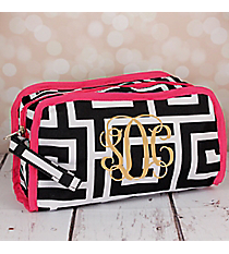 Black and White Greek Key Travel Bag with Pink Trim #CB12-704-BK-PK