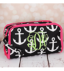 Black and White Anchor Travel Bag with Pink Trim #CB12-706-BK-PK