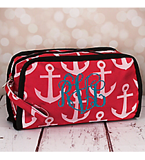 Pink and White Anchor Travel Bag with Black Trim #CB12-706-PK-BK