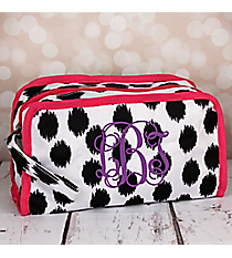 Black Brushed Dots Travel Bag with Pink Trim #CB12-707-BK-PK