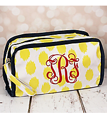 Yellow Brushed Dots Travel Bag with Navy Blue Trim #CB12-707-Y-BL