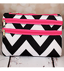 Black and White Chevron with Pink Trim Travel Pouch #CB2-1324-P