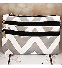 Gray and White Chevron Travel Pouch #CB2-1325