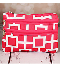 Pink and White Connecting Squares Travel Pouch #CB2-1334-2