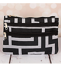 Black and Gray Greek Key Travel Pouch #CB2-704-BK