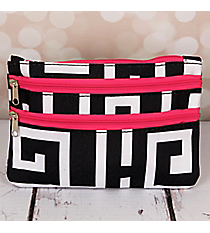 Black and White Greek Key with Pink Trim Travel Pouch #CB2-704-BK-PK