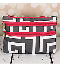 Gray and White Greek Key with Pink Trim Travel Pouch #CB2-704-GR-PK