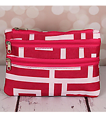 Pink and White Greek Key Travel Pouch #CB2-704-P