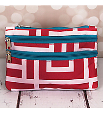 Pink and White Greek Key with Blue Trim Travel Pouch #CB2-704-PK-BL