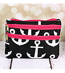 Black and White Anchor with Pink Trim Travel Pouch #CB2-706-BK-PK