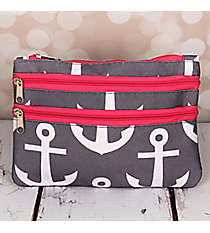 Gray and White Anchor with Pink Trim Travel Pouch #CB2-706-GR-PK