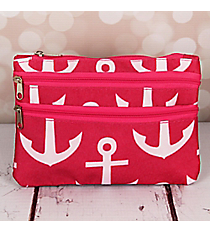 Pink and White Anchor Travel Pouch #CB2-706-P