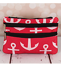 Pink and White Anchor with Black Trim Travel Pouch #CB2-706-P-BK