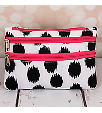 Black Brushed Dots with Pink Trim Travel Pouch #CB2-707-BK-PK