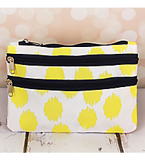 Yellow Brushed Dots with Navy Blue Trim Travel Pouch #CB2-707-Y-BL