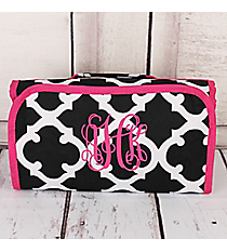 Black and White Moroccan with Dark Pink Trim Roll Up Cosmetic Bag #CB25-11-BW-P