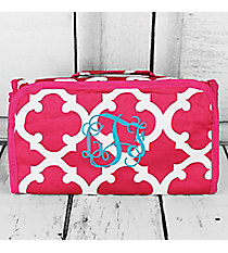 Dark Pink and White Moroccan Roll Up Cosmetic Bag #CB25-11-P